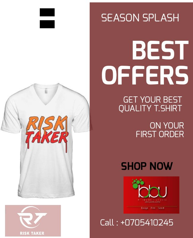 Get your favorite self branded T.shirt At only 35k  A #RiskTaker t.shirt at only 30k  You can miss out on this, hit our #dm or contact us on 0780289174 or the number below <br>http://pic.twitter.com/PphWgVcpY8