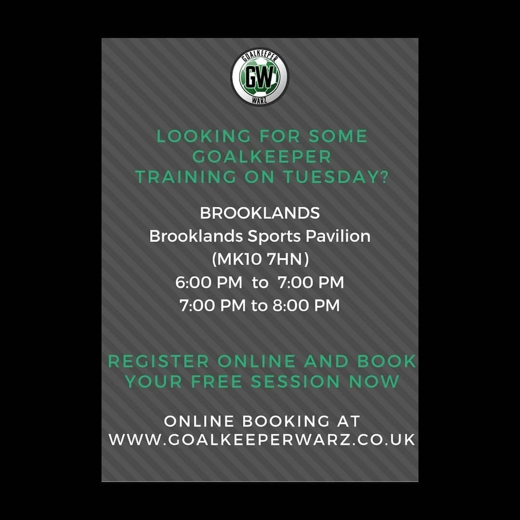 We're back    TUESDAY Brooklands Sports Pavilion   BOOK A FREE TRIAL VIA http://WWW.GOALKEEPERWARZ.CO.UK  #goalie #goalkeepertraining #goalkeeper #sports #goal #stayhome #workout #football #training #goalie #gktraining #goalkeepertraining #MiltonKeynes #goalie https://instagr.am/p/CCDSo8ij9P4/pic.twitter.com/t1s708YL2c