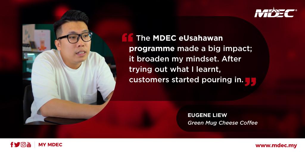 One small step for coffee, one giant #DigitalLeap for #eUsahawan Eugene Liew. Watch how he took #GreenMugCheeseCoffee from stall to #ecommerce success https://t.co/kRHZqyyykv  #BersamaMenjanaEkonomi #LetsBuildTogether #LonjakanDigital #MyMDEC @ChairmanMDEC @saifuddinabd https://t.co/iX1OMTJVB1