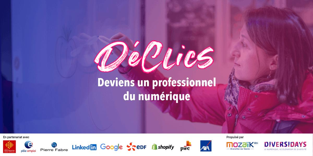 📯Demain, on lance le programme #DéClicsNumériques @Occitanie avec @Poleemploi_oc @diversidays & @mozaikrh🚀  Au menu, 2 semaines d'accompagnement des demandeurs d'emploi pour faciliter leur reconversion vers les métiers #numériques🤩  👉🏽 https://t.co/RMfnVqJKcT /c @J_Sanfilippo https://t.co/lmJOJytQ3M