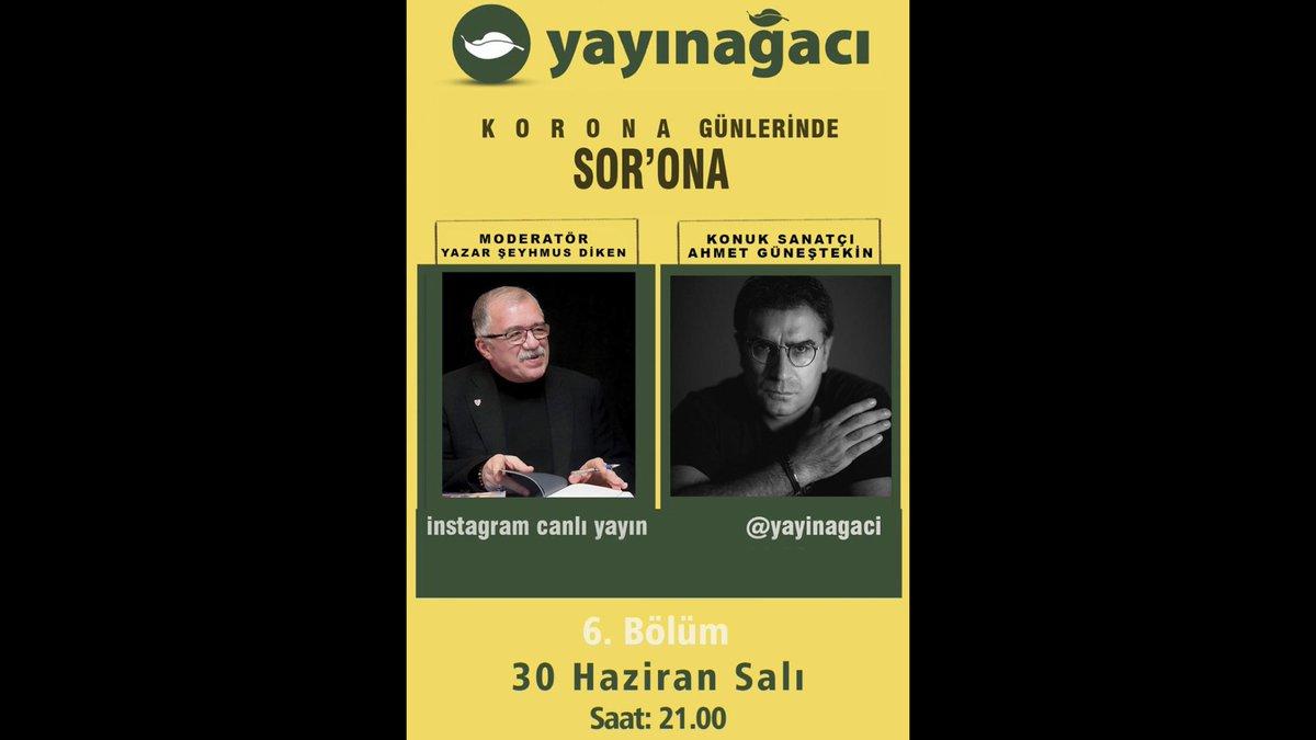 Bugün saat 21.00'de @yayinagaci İnstagram sayfasında @AhmetGunestekin ile sanat&kültür üzerine konuşacağız. https://t.co/p1zCSaDAS6