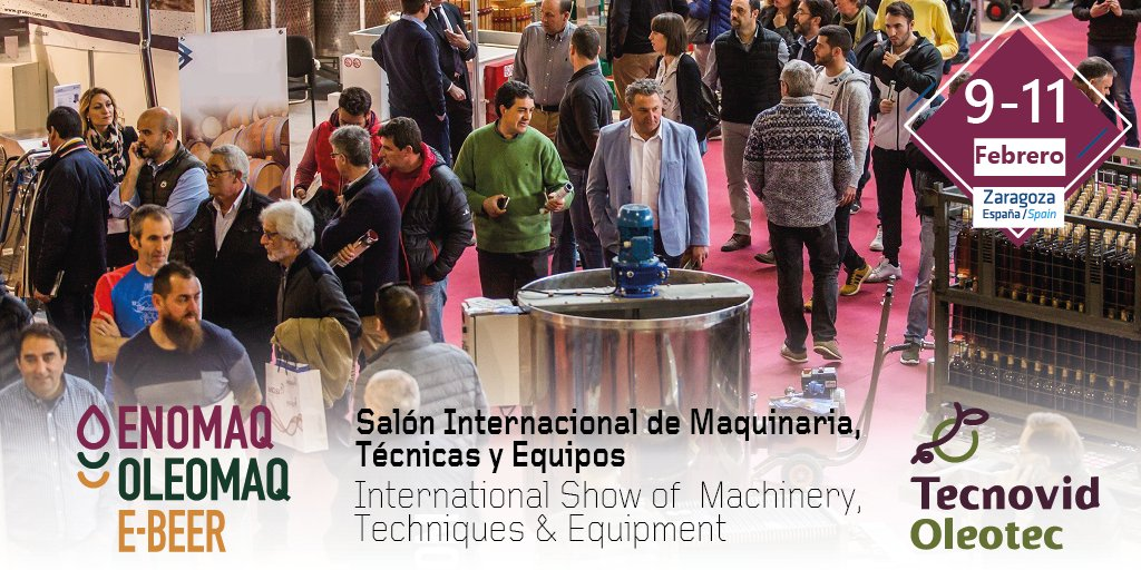 Del 9 al 11 de febrero de 2021, ENOMAQ2021 el Salón Internacional de Maquinaria, Técnicas y Equipos que engloba los sectores del #vino, #aceite y #cerveza, vuelve a @feriadezaragoza  NOTA DE PRENSA: https://t.co/JHzlgIYBd6 y lo hace para poner en valor sus 45 años al servicio.. https://t.co/RACQCQNLsU