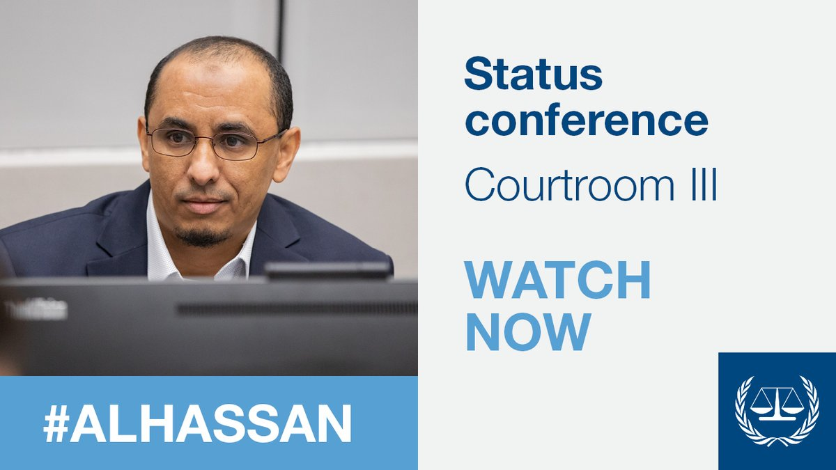 📺: https://t.co/Bd3fdq0FR5 (Courtroom III) Status conference in the #AlHassan case - on the agenda : preparations for the trial opening on 14/07 For more about this case concerning war crimes & crimes against humanity allegedly committed in #Timbuktu: https://t.co/aZjm1r2grI https://t.co/TLiXLd3UZC