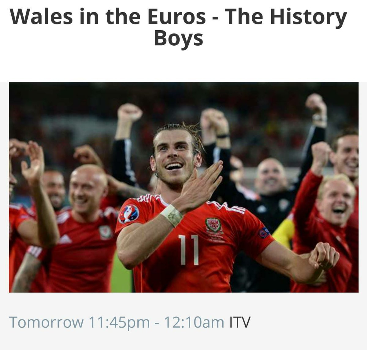 To our Friends & Family in the UK, check this out:   A chance to go #DownMemoryLane and relive Wales' heroic run at #Euro2016   A documentary made by our very own @barn_media.  Catch it on ITV / ITV Player at 11:45 PM BST on July 1.   Do tune in! #TheHistoryBoys<br>http://pic.twitter.com/MTPCoWrRyn
