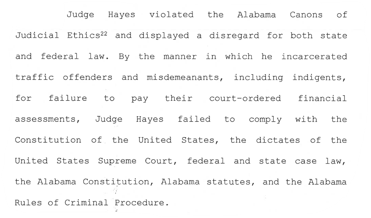 Even after Hayes admitted to violating 10 different parts of the state's judicial conduct code he wasn't fired. Instead, the judicial commission and Hayes reached a deal: An 11-month unpaid suspension before returning to the bench 5/7 https://t.co/gJ1ypOQ4gp