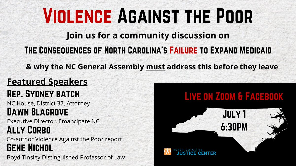 Professor Gene Nichol is a panelist on today's discussion about the consequences of North Carolina's failure to expand Medicaid. Learn more about his research on poverty in our state at https://t.co/lRpFnQkrZt