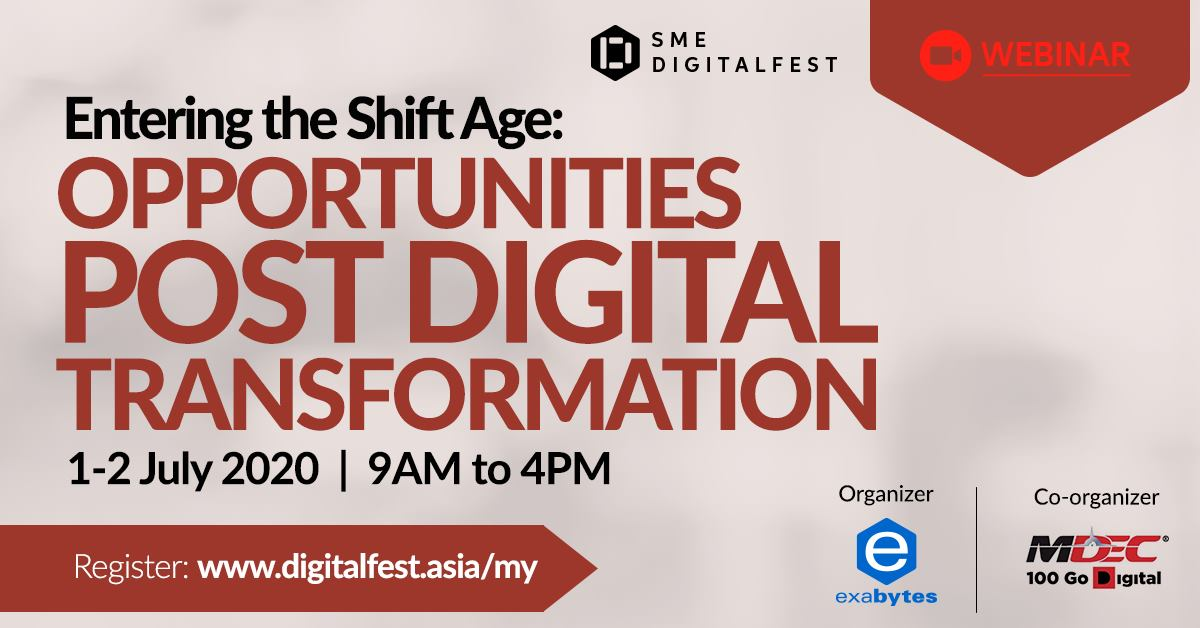 SME DigitalFest is back! This is a #digitaltransformation webinar you DON'T want to miss.  Join the webinar here: https://t.co/1XQecKEkn5  Date: 1-2 July 2020 Time: 9.00AM to 4.00PM Website: https://t.co/irIxlD3uUi  #SMEDigitalFest #BersamaMenjanaEkonomi #DigitalLeap https://t.co/MRT7LVRImT