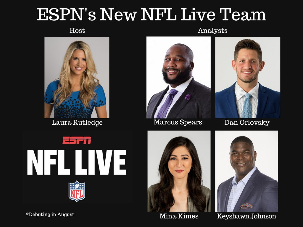 ESPN will debut a new NFL Live in August.  Congrats to host @LauraRutledge, @mspears96 @danorlovsky7 @keyshawn and @minakimes, who is now officially an ESPN NFL analyst. https://t.co/KbNjvs5fPz https://t.co/uTT4Jzj4RR