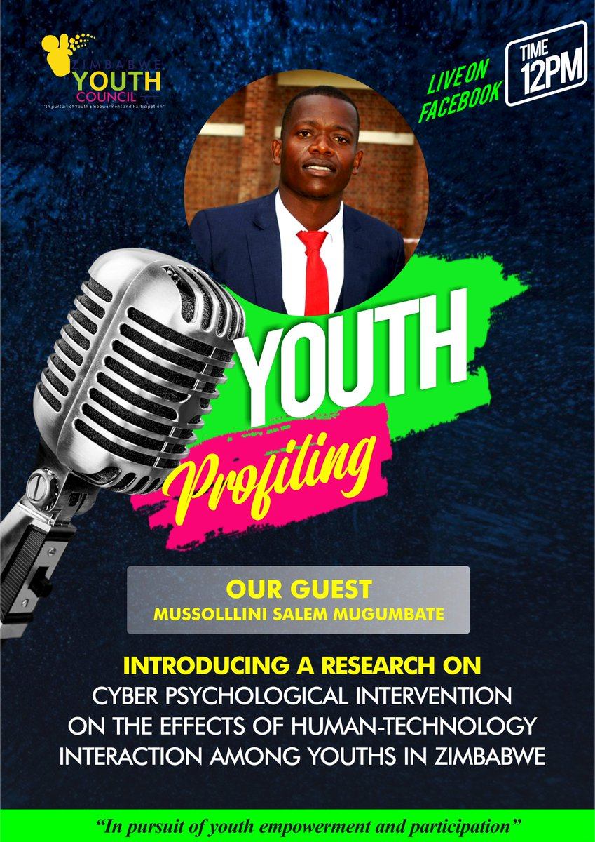 Introducing a research on Cyber Psychological Intervention on the effects of Human-Technology among Youths in Zimbabwe live on facebook @ 12pm. Our Guest: Mussollini Salem Mugumbate @moysar @schisina @tguranungo @YouthConnektZim @ZimYouthSDGs @YetTrust https://t.co/68RAHOoUKV