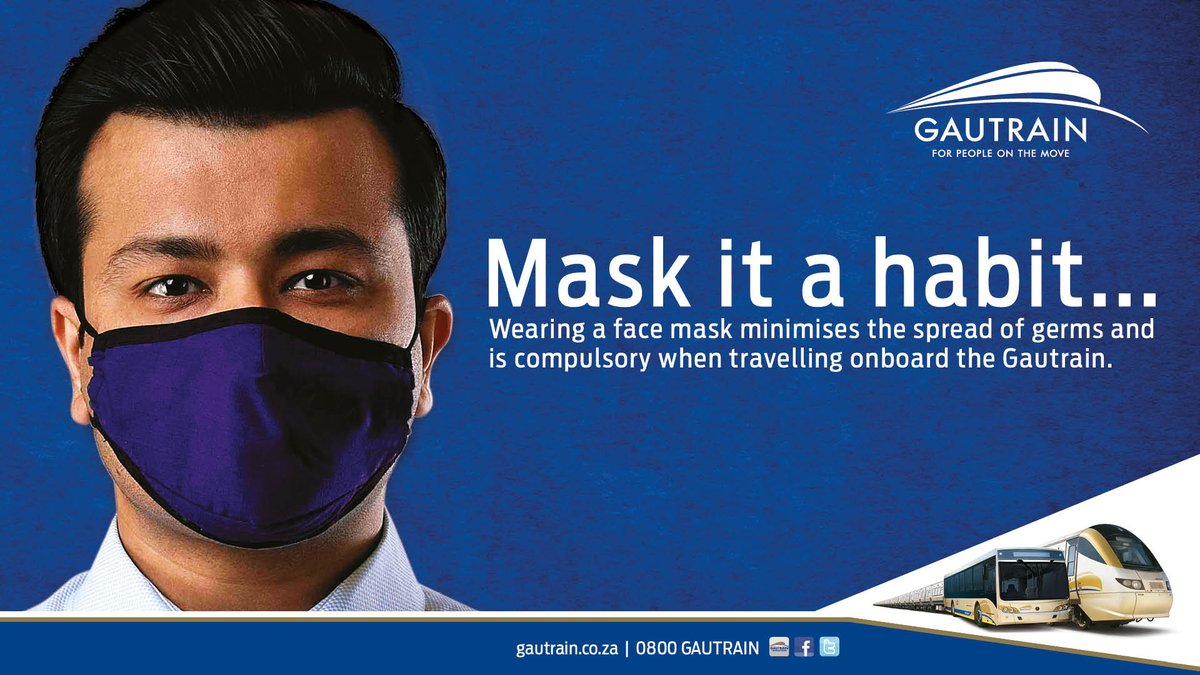 Please ensure that you wear a face mask at all times whilst on Gautrain – both at the station and onboard the train, bus or midi-bus. Mask it a habit and together let's combat COVID-19. https://t.co/qw2xKnF25g