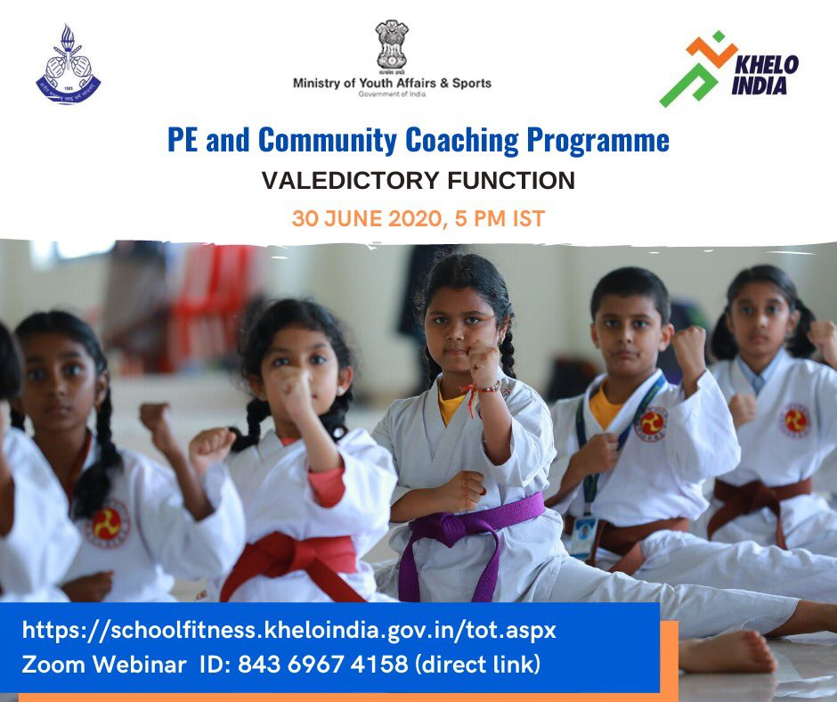 Greetings from SAI LNCPE Trivandrum! You will be pleased to know that the 25 days PE and Community Coaching Programme has been successfully completed. There is a Valedictory Function today evening at 05:00 PM IST. Click Here: schoolfitness.kheloindia.gov.in/tot.aspx Webinar ID: 843 6967 4158
