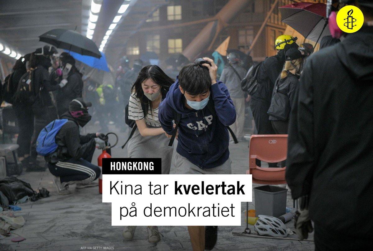 ❗️I natt vedtok Kina den nye sikkerhetsloven. Dette kan bety begynnelsen på slutten for demokrati i Hongkong. Framover vil kritikk av Kina kunne straffes med mange års fengsel. ✊ Nå må vi vise at vi ikke glemmer #Hongkong! #StandWithHongKong @amnestyHK https://t.co/u3tHMFcm7b