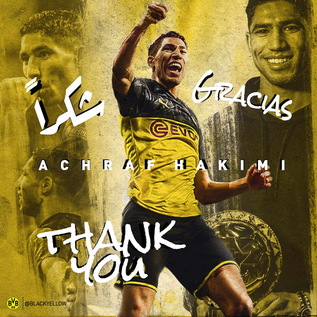 Gracias, Achraf!   We thank Achraf Hakimi for his time in Dortmund and wish him all the best in his future career. https://t.co/6tmUViRDt1