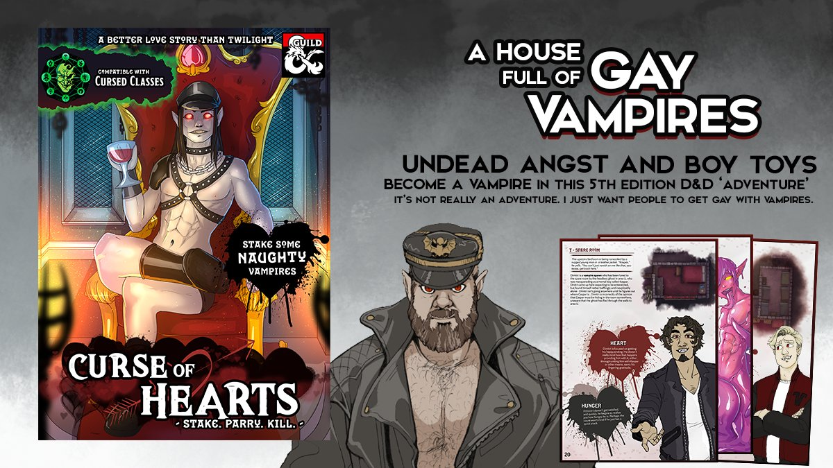 let's talk about queer art and censorship. As you may know, my module Curse of Hearts (shown) was deactivated by the Dungeon Master's Guild yesterday after we failed to reach an agreement about pieces of internal art deemed too provocative for a 'kid/teen friendly' environment https://t.co/7bWIjhe0yS