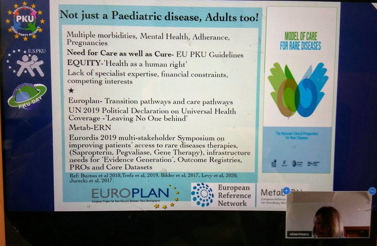 """Not just a paediatric disease, adults too!"" Thank you @eileentreacy3 for your presentation #PKUMEPAlliance outlining #PKU is #lifelong #raredisease requiring specialist expertise @official_espku @EUParliament1 #PKUDay2020 #PKU #mentalhealth #brainhealth"