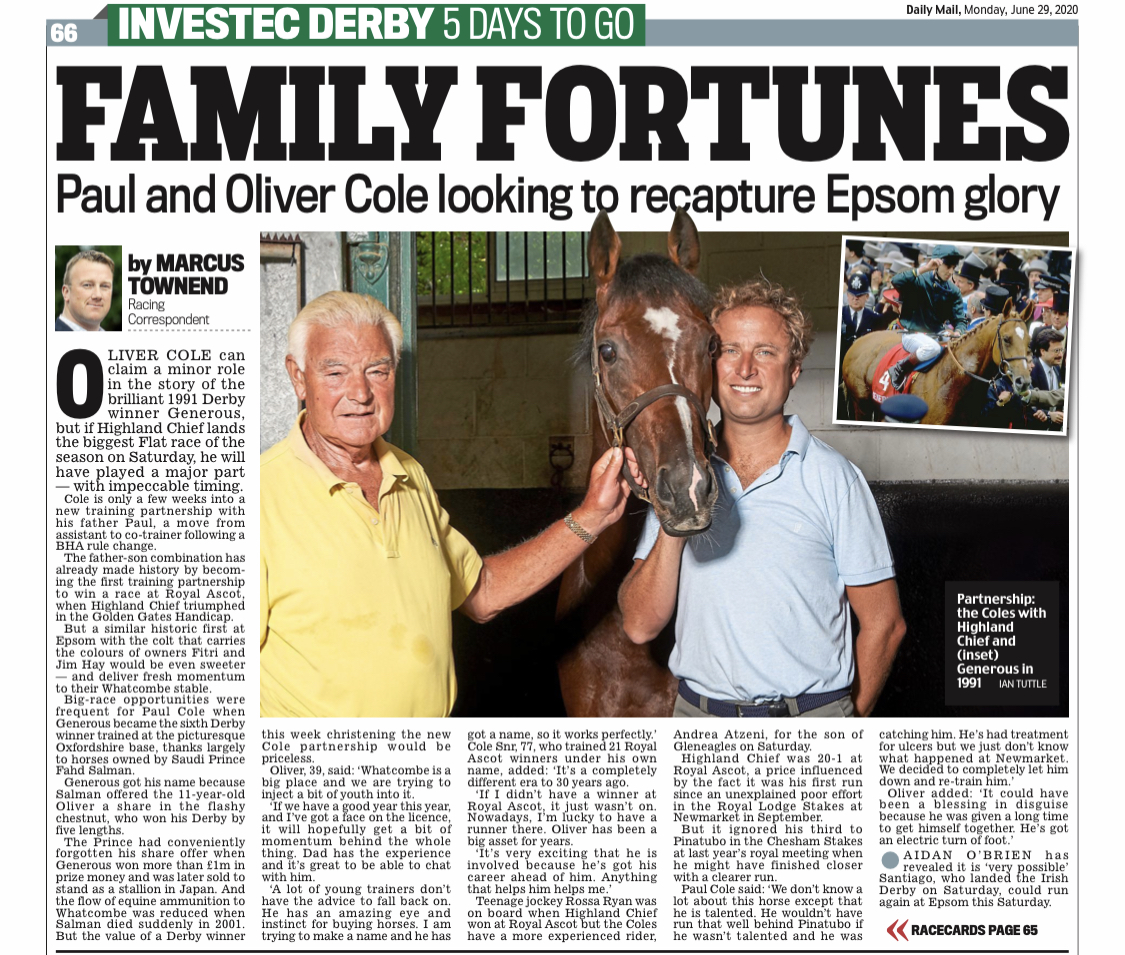 Exciting times ahead, thank you to Marcus Townend of the Daily Mail.