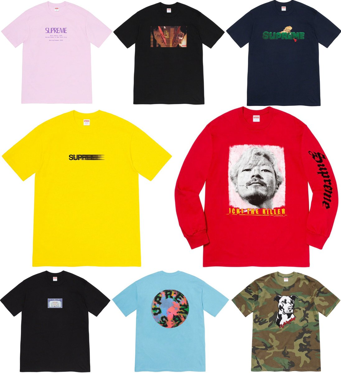 Official images of the Supreme Summer Tees set to release this Thursday, July 2nd.  Which tee is your favorite?