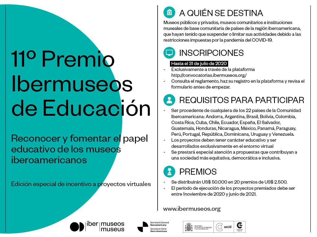 Abiertas las inscripciones al 11º Premio Ibermuseos de Educación. Más información https://t.co/cznasXvKoE https://t.co/L63Nxr9Dn8