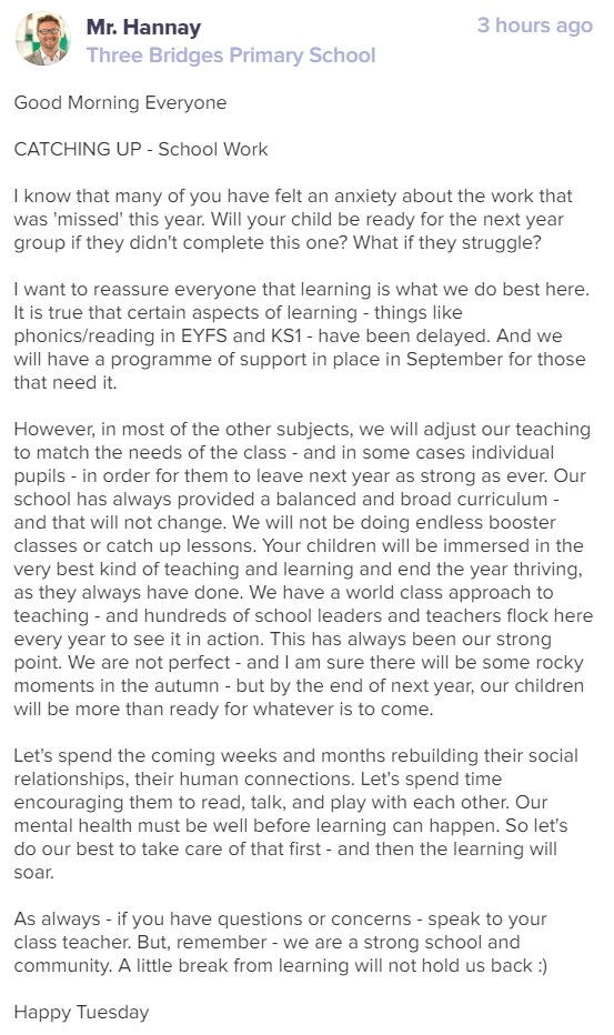 A message from Mr Hannay for our school family. #CatchUp #LookingForward
