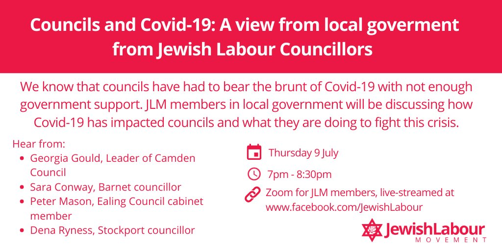 Join us at our next online event how Covid-19 has impacted local government featuring JLM members @Georgia_Gould, @Sara_Conway3, @_petermason and @dena_ryness! 📅 Thursday 9 July 🕖 7pm - 8:30pm 🔗 Zoom for JLM members and live-steamed on our Facebook page
