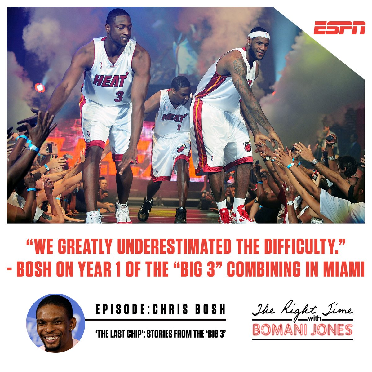 im off this week but... new #TheRightTime with @chrisbosh! basically we start at the summer of 2010 and go through the run of the big 3 heat! had a great time with this one. spoti.fi/31rHF6p