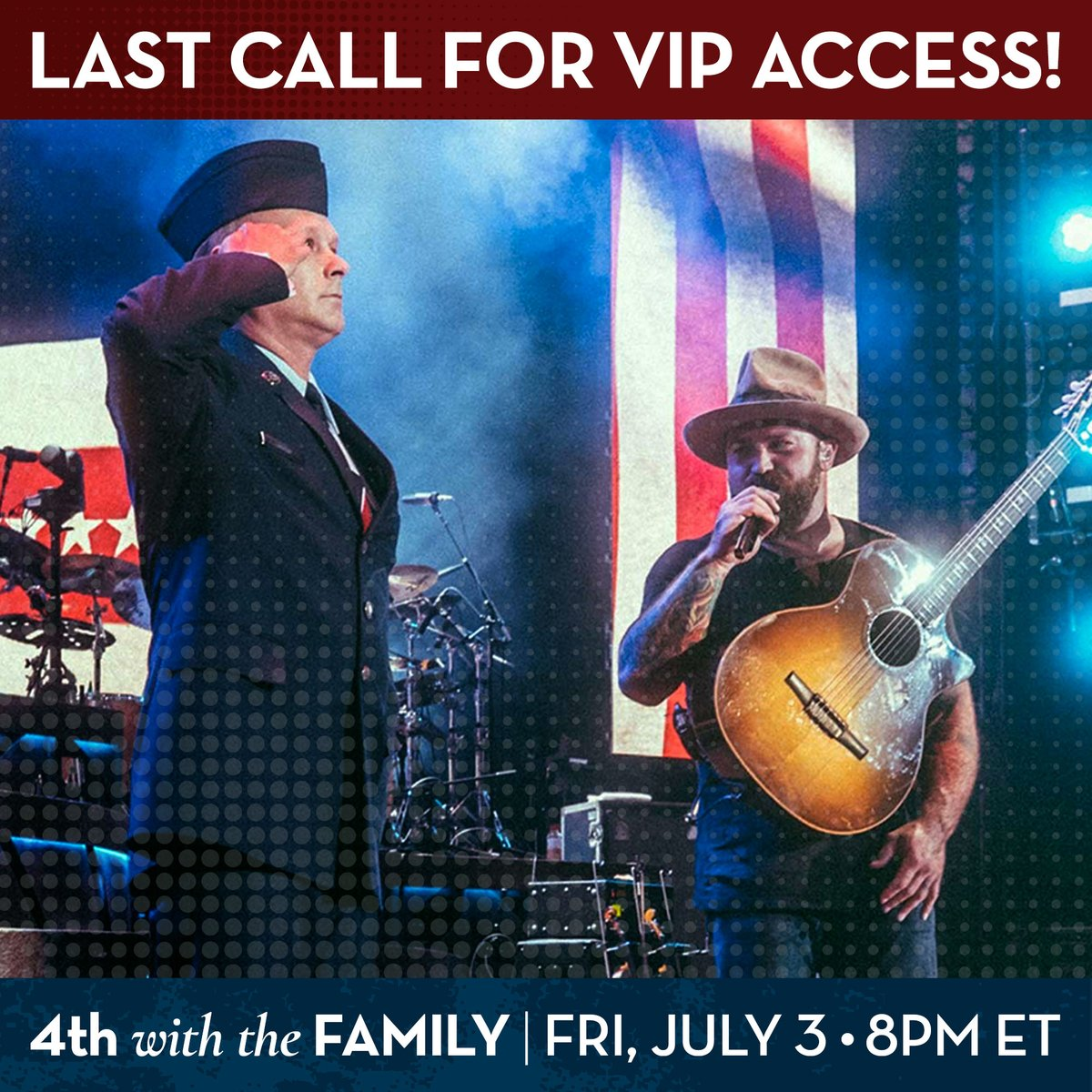 Last call! Tomorrow is the last day to get behind the scenes pre-show access with Zac AND your name recognized during our #4thwiththeFamily livestream! All gifts support Camp Southern Ground's veteran programs. Donate today https://t.co/k9bdLXkeSr  #warriorwellbeing @zacbrownband https://t.co/fG8xkwvVn3