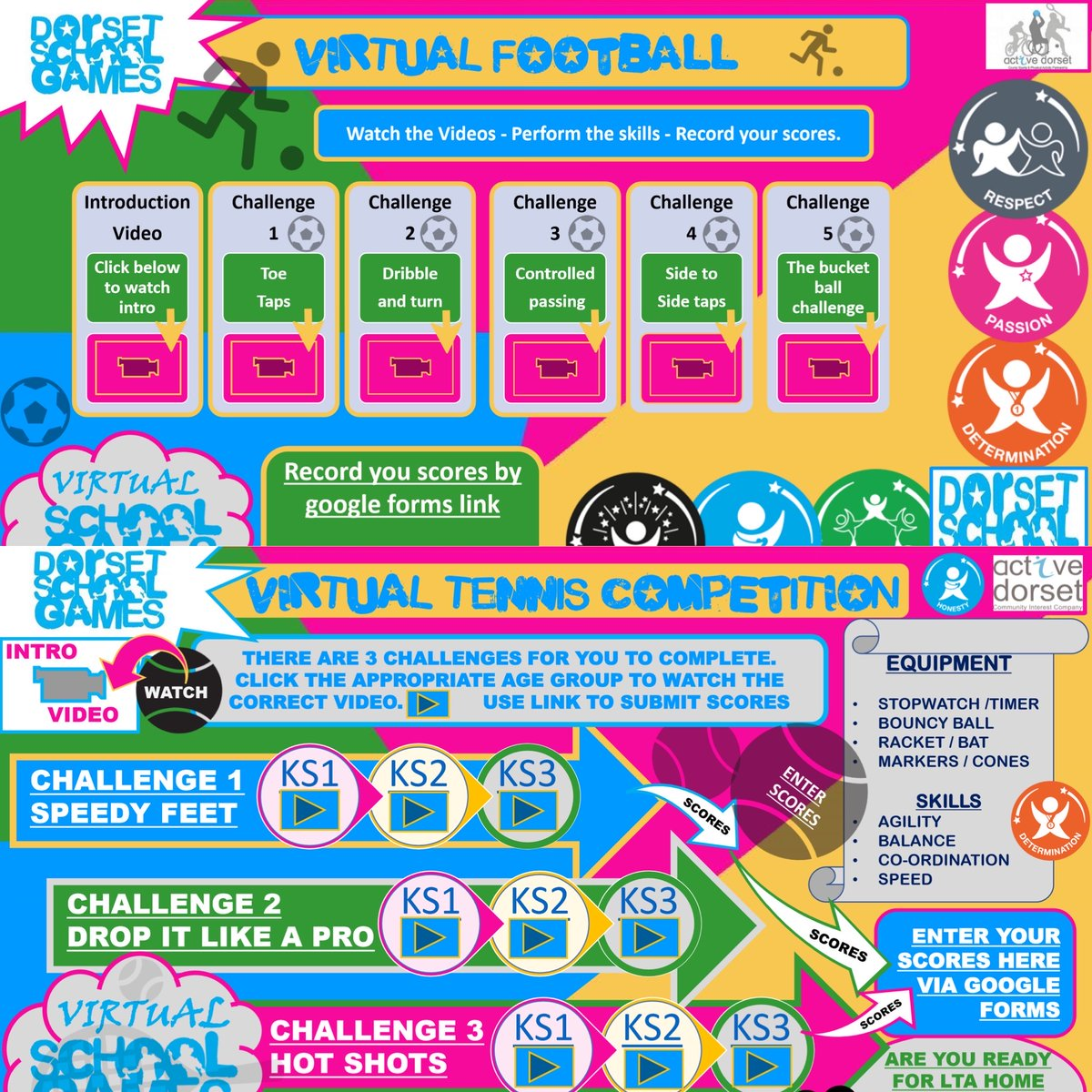 We have 2 new 'Virtual Competitions' for young people to take part in before the end of term ✅.   Football ⚽ Tennis🎾.  A huge thanks to Mr David from @SJCPE & @csb_tc for putting the videos together 👏🏻😁.   Take part via the link below ⬇ #DSGVirtual  https://t.co/rku1LUDZfd