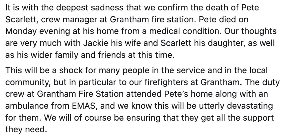 It is with the deepest sadness that we confirm the death of Pete Scarlett, crew manager at Grantham fire station. Read the full statement: https://t.co/gIrLZswhB9
