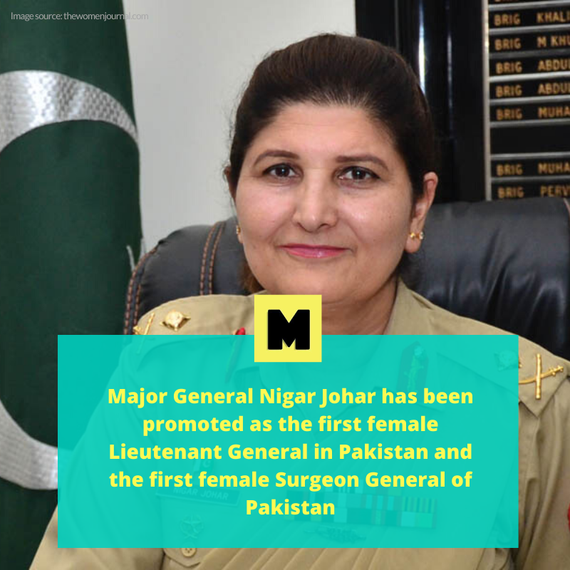 Congratulations to Lieutenant General Nigar Johar, the first female Surgeon General of Pakistan Army! 🇵🇰🇵🇰🇵🇰 https://t.co/I0vT2yriBV