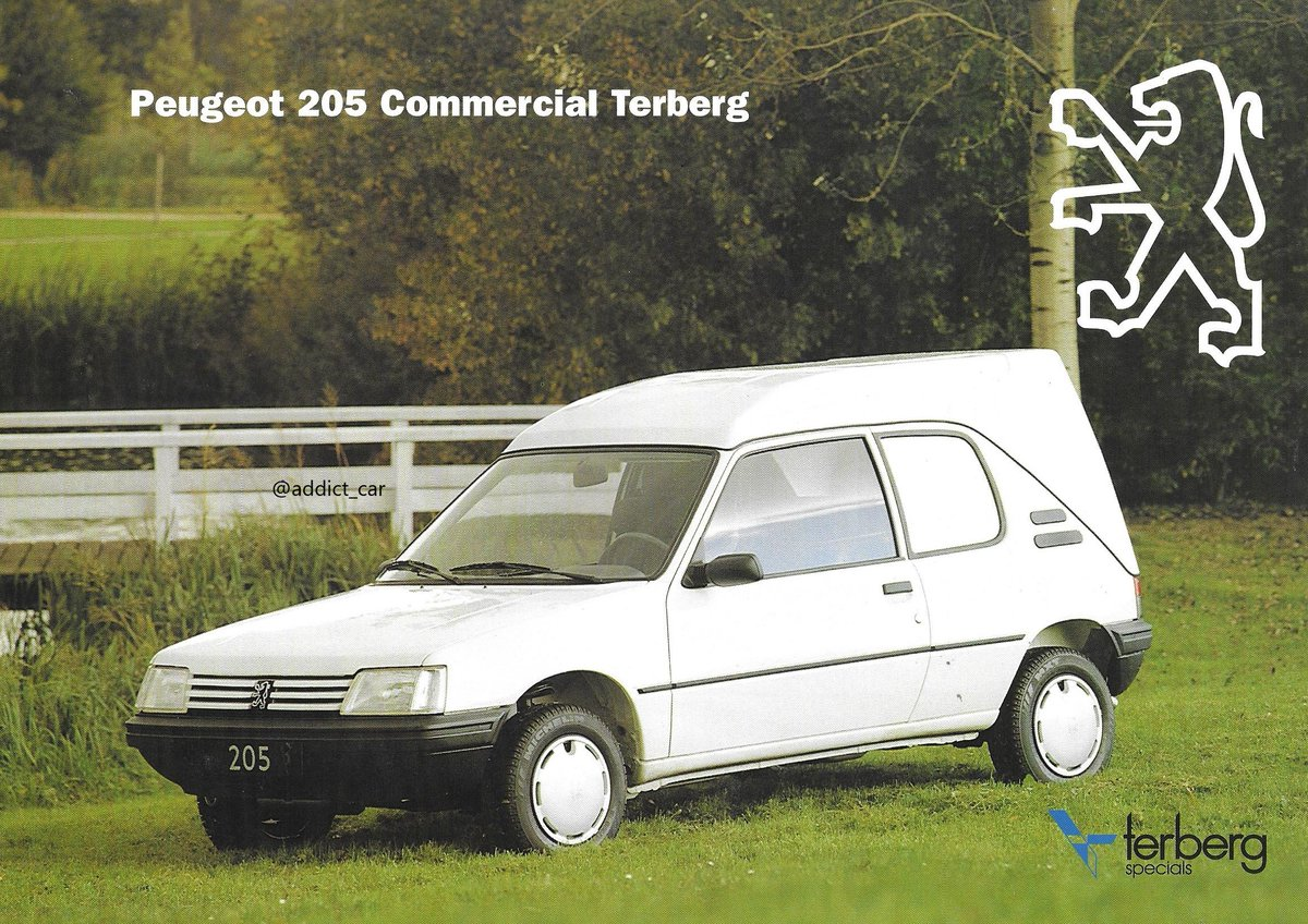 The Peugeot 205 was one of the best-looking hatchbacks of its generation and and a slightly curious candidate to make into a box van. This conversion sold in The Netherlands in the 1990s was by Terberg, a Dutch company specialising in vehicle conversions. #carbrochure #Peugeot pic.twitter.com/8zcj9p1HFV