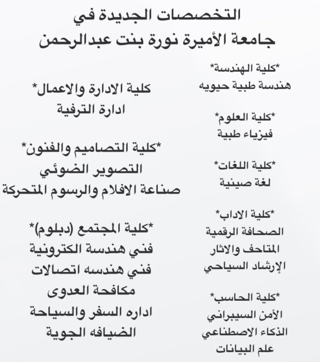 D7d7 Altamimi On Twitter التخصصات الجديده في جامعة نوره