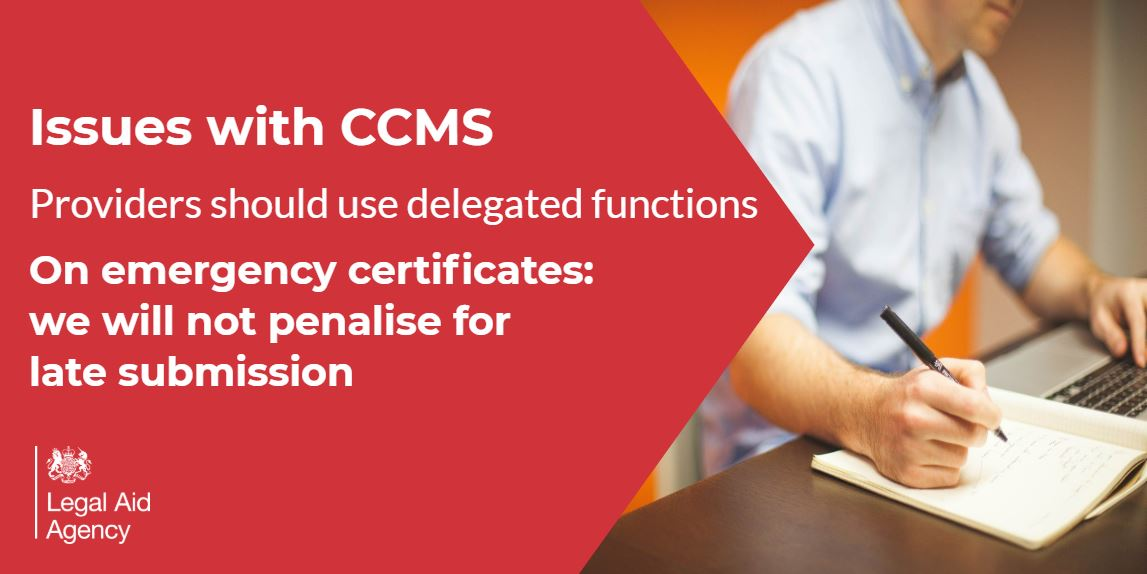 Technical problems continue with the Client and Cost Management System (CCMS).  We are asking #legalaid providers to not use the system as work may not be saved.   We would remind providers to use the delegated functions where possible and that the LAA can back date certificates. https://t.co/5Tofj04KDZ