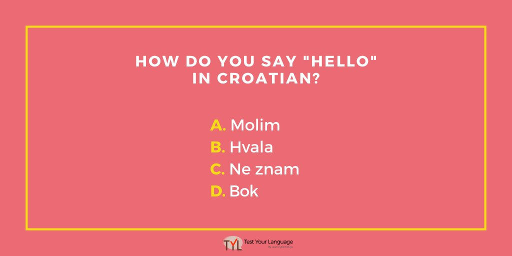 How good is your Croatian vocabulary? Take the full test here: https://bit.ly/3g95zaX   #TestYourLanguage #croatia #croatian pic.twitter.com/s6KumSqAOT