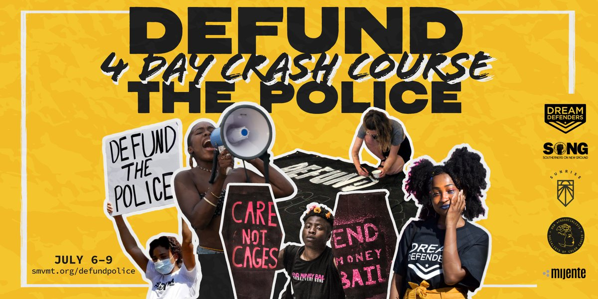 Join @sunrisemvmt, @AFROSOCDSA, @Dreamdefenders, @ignitekindred and Mijente on a 4 day crash course to talk about what it means to defund the police. Sign up now! bit.ly/mijentedefundt…