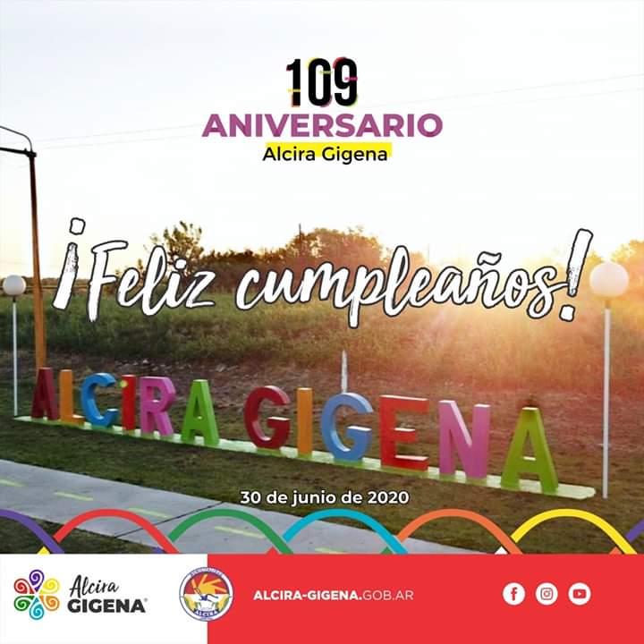 #109Años #AlciraGigena #DepartamentoRioCuarto  Saludamos al Sr. Intendente Fernando Gramaglia a su Equipo de Trabajo y a toda la comunidad de Alcira Gigena con motivo de celebrarse hoy el 109º Aniversario de la Fundación de la Localidad. https://t.co/V4mge0UQHR