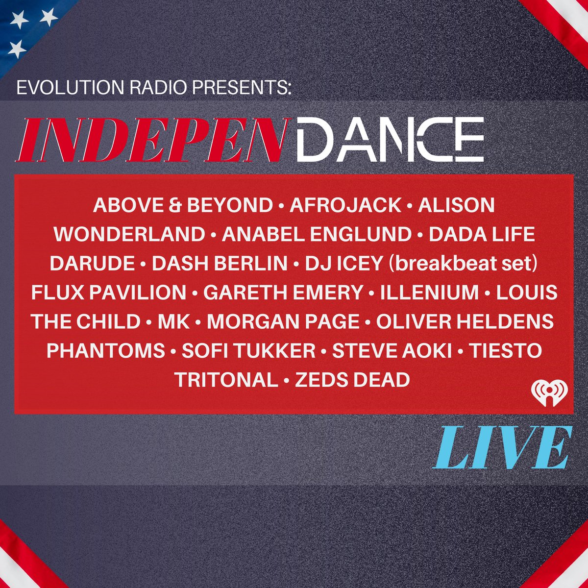 Nowhere to celebrate this wknd? No worries! #IndepenDANCElive kicks off Fri at 3pm ET w TONS of the biggest guest mixes! 🎇 Use us anywhere for ur #4thofJuly wknd soundtrack on the free @iheartradio; just tell ur smart device to play Evolution Radio! 🇺🇸 Evolution.iheart.com/listen