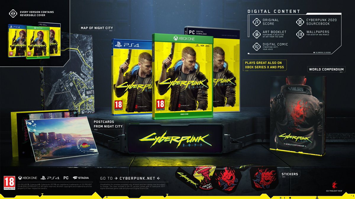 Did you know that... each copy of #Cyberpunk2077 comes with digital content?  The goodies include: 🎶 original score 🖼 art booklet 📕 Cyberpunk 2020 sourcebook 🖥️ wallpapers  and a brand new addition:   💬 digital comic – Cyberpunk 2077: Your Voice! https://t.co/CB9zuK9KoG