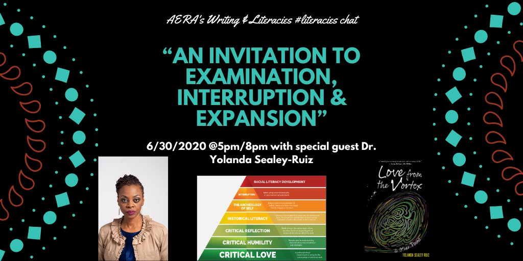 """**TONIGHT** - Join #literacies chat as we discuss [""""An Invitation to Examination, Interruption & Expansion""""]--[@RuizSealey]! https://t.co/MKJNefoS0s"""