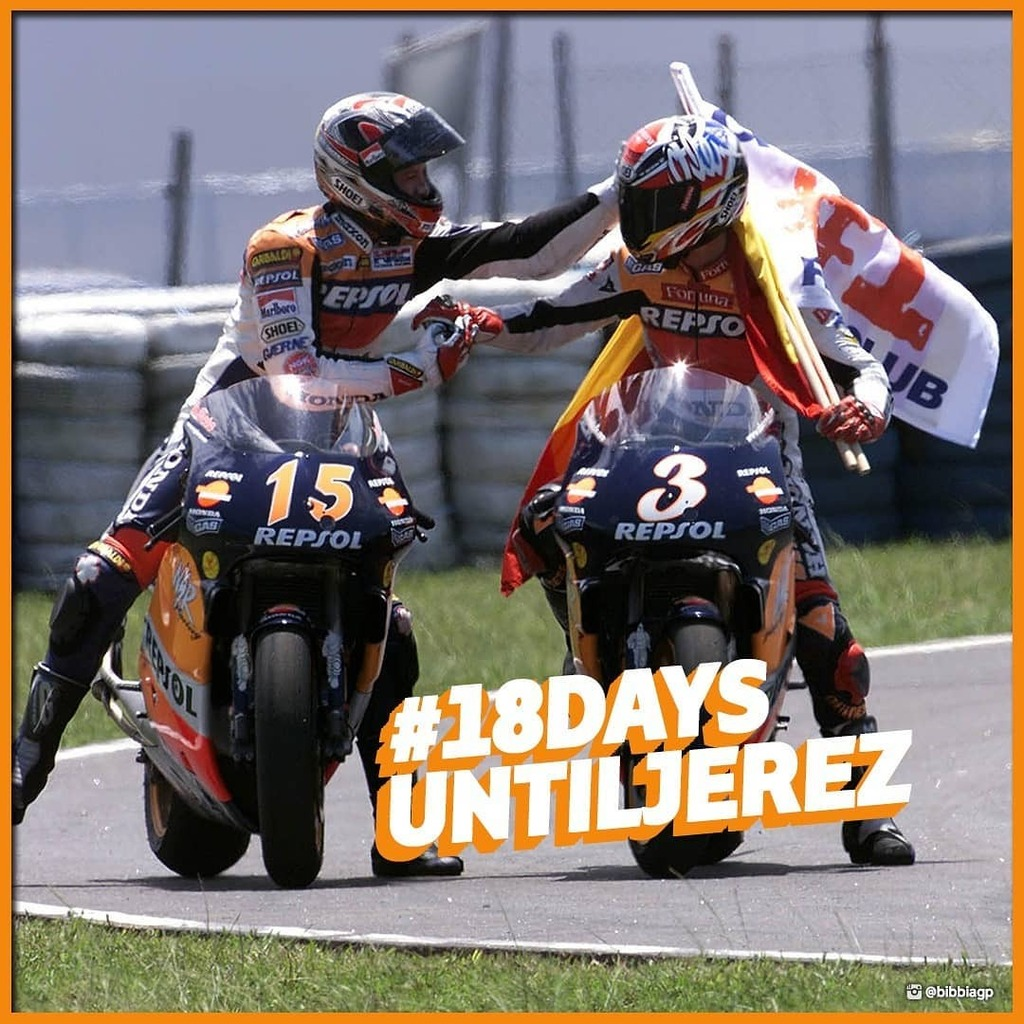 1️⃣8️⃣ #18DaysUntilJerez ⚡ Oggi di annata! Ricordate anno e soprattutto chi sono i due piloti in foto? ➖ #MotoGP #Moto2 #Moto3 #MotoE #WorldSBK #WorldSSP #Motorcycle #Motorsport #Racing #Dorna #DornaSports instagr.am/p/CCEbGLbpa5V/