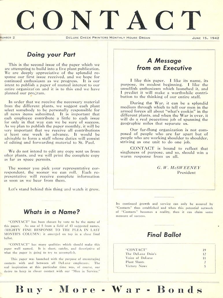 """Our 1942 company newsletter was right on the money. """"Our far-flung organization is not composed of people who are far apart, but of people who are working shoulder to shoulder, striving as one unit to do one job."""" We continue their work today. #OneDeluxe https://t.co/noosiuLoUz"""