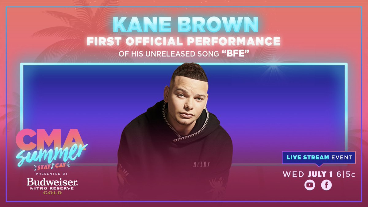 """JUST ANNOUNCED! @KaneBrown is performing his unreleased song, """"BFE,"""" LIVE this Wednesday on """"#CMASummerStayCay presented by @BudweiserUSA Nitro Gold"""" and we are HERE FOR IT! 🤩 Who's counting down with us?! https://t.co/H72K6jSE96"""