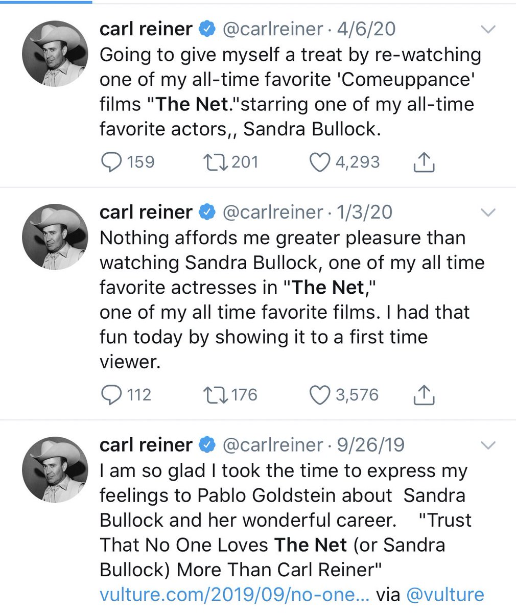 Never forget how much Carl Reiner loved The Net (1995)