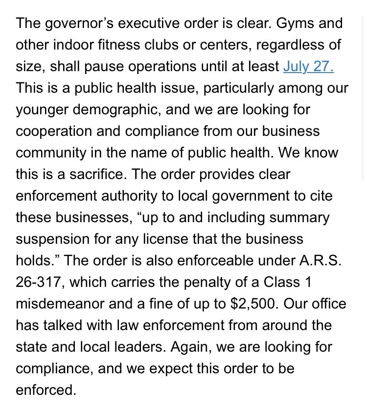 Statement from Governor's Office in response to questions about whether smaller gyms are also expected to close: