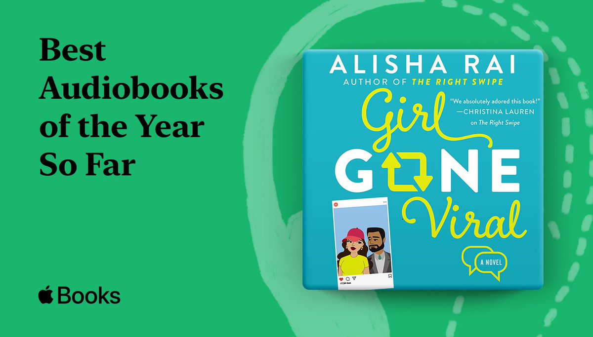 .@AlishaRai's second novel in her Modern Love series GIRL GONE VIRAL has been named by @AppleBooks as one of the Best Audiobooks of the Year So Far - See the whole list here: https://t.co/71zuvv5asS https://t.co/ua1xzfUG9L