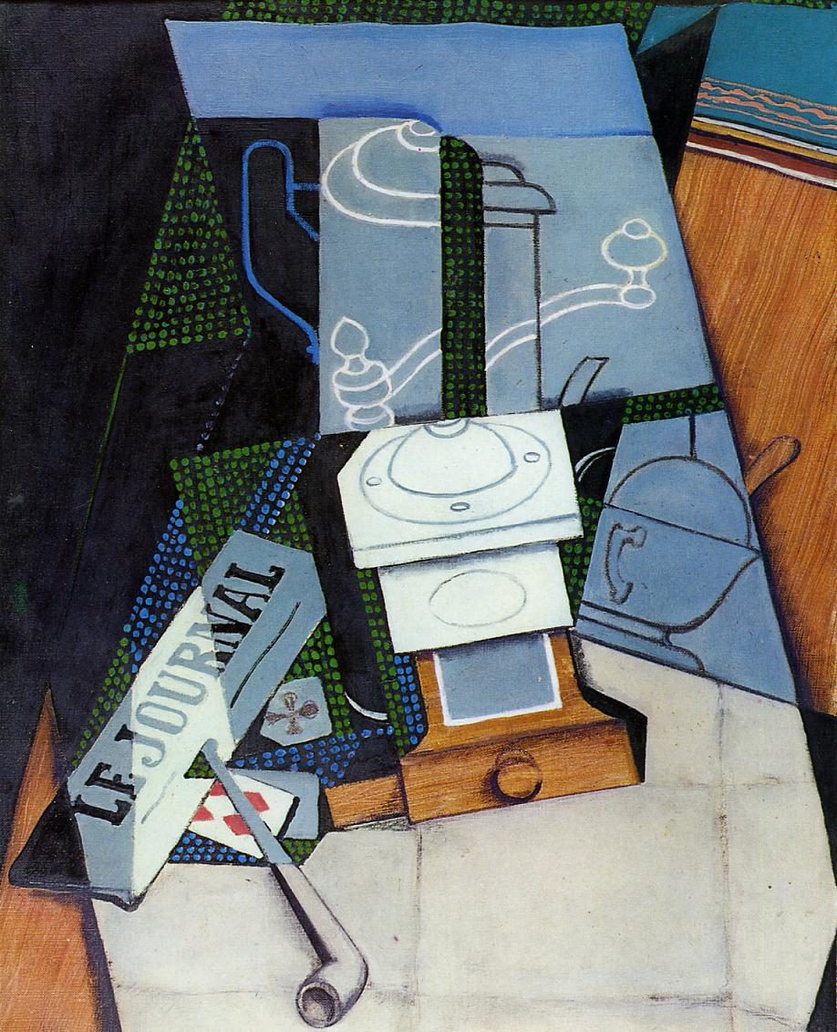 Newspaper with Coffee Mill, Juan Gris, 1915 #syntheticcubism #juangris <br>http://pic.twitter.com/r79IznhwmG