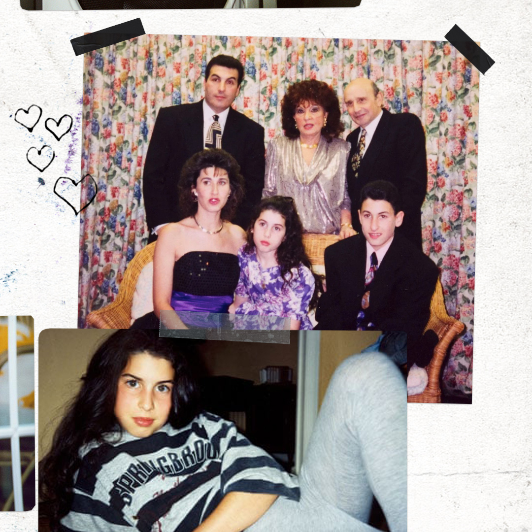 Amy and her family at her brother's bar mitzvah party in 1992 and a young Amy at home. Images courtesy of the Winehouse family and the Jewish Museum London. 🖤 https://t.co/5brHWYbKRd