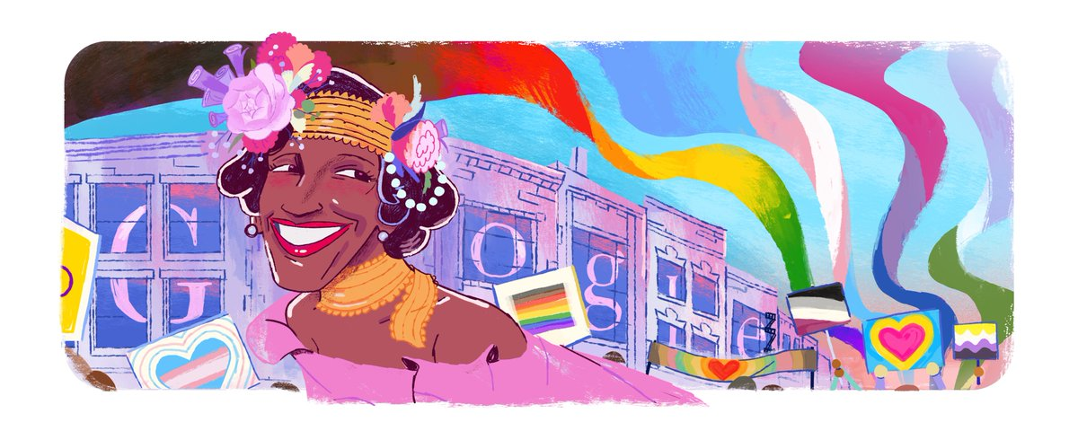 Today's #GoogleDoodle celebrates activist, performer, and self-identified drag queen Marsha P. Johnson, one of the pioneers of the LGBTQ+ rights movement in the United States. Thank you, Marsha, for inspiring generations → https://t.co/iL90QKyAPh https://t.co/7h4FReUg2c