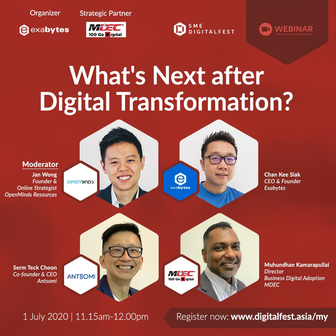 We know the importance of #digitaltransformation. But what's next? The panel discussion will go deeper into adaption & strategies.  1 July 2020 11.15am - 12.00pm FREE ADMISSION to join the panel: https://t.co/irIxlDl5LQ Agenda: https://t.co/n3lxF0XZnY #SMEDigitalFest #DigitalLeap https://t.co/AI3iKou0hs