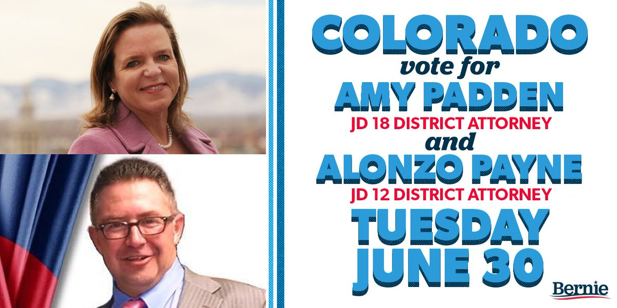 Colorado, today is Election Day! Be sure to return your ballot by 7 p.m. today and vote for DA candidates @alonzopayneCO and @ap4ag. Find out more info about returning your ballot here: bernie.to/co-vote.