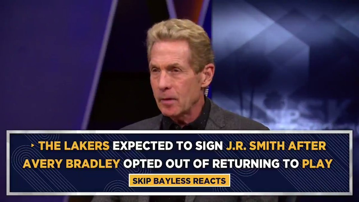 """""""J.R. Smith will take and make impossibly big shots. He is fearless and coldblooded, he just doesn't care. But what you did was replace a starter in Avery Bradley with a J.R. Smith who has not played an NBA game since 2018.""""  @RealSkipBayless https://t.co/XPUa7f5iVl"""